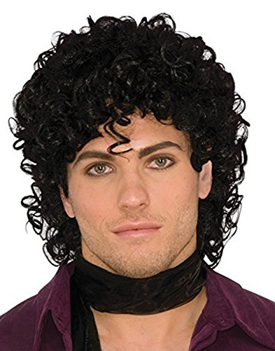 Price comparison product image 80s Rock Star Royalty Wig Black One Size