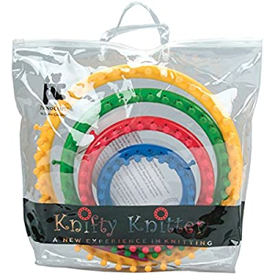 Genuine Knifty Knitter Round Loom Set with 4 Looms, Hook & Bag by PROVO CRAFT