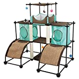 Kitty City SPO-0594 Steel Claw Castle Cat Furniture, Teal/Brown