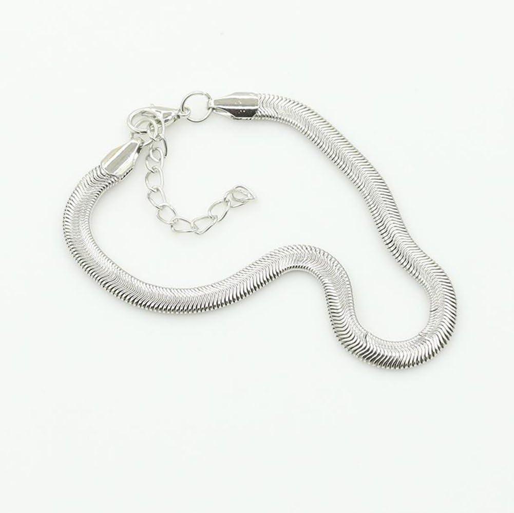 Lumanuby 1/pcs Cheville Cha/îne femme Charm /él/égant trois Couche Serpent Motif os Bracelet Pieds nus Sandale Fille Pied Bijoux Accessoires Amour Cadeau Argent Peque?o Silver a Alliage