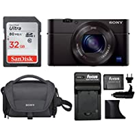 Sony Cyber-shot RX100M III 20.1 MP Digital Camera w/ Sony AGR2 Attachment Grip (Black) & 32GB Accessory Bundle