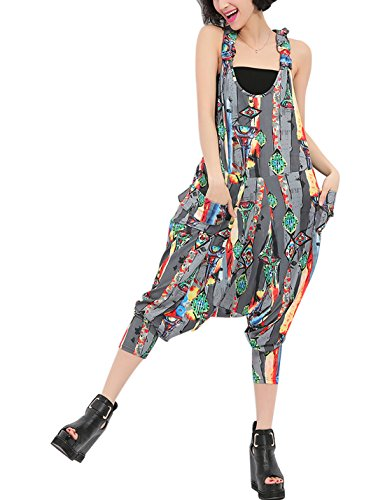 Gihuo Women's Floral Print Striped Baggy Bib Overalls Jumpsuit Casual Hippie Cropped Harem Pants (Grey, Free Size) - Striped Bib Overalls