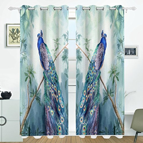 JSTEL Peacock Curtains Drapes Panels Darkening Blackout Grommet Room Divider for Patio Window Sliding Glass Door 55x84 Inches,Set of 2