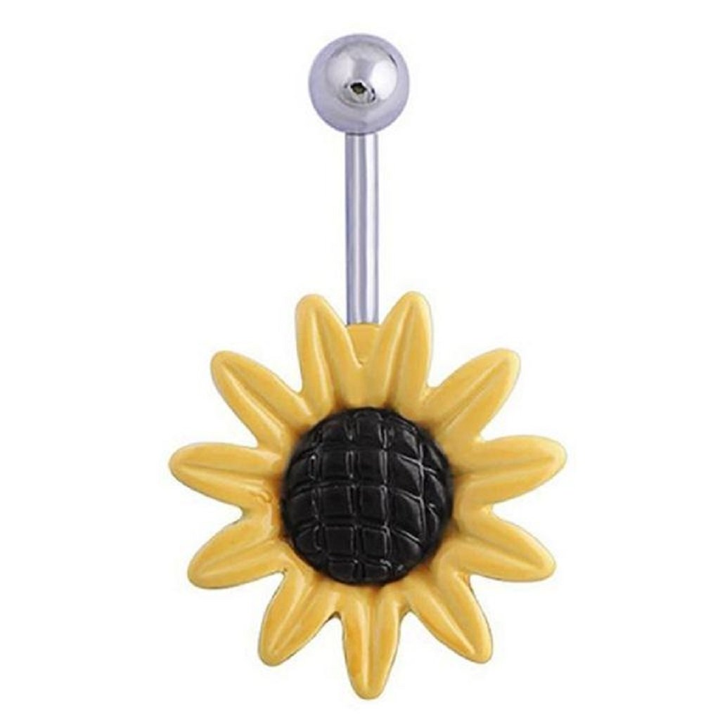 Velishy Fashion Shining Sunflower Flower Bar Belly Button Barbell Ring Navel Piercing Women Body Jewelry 2 Colors White Yellow(yellow)