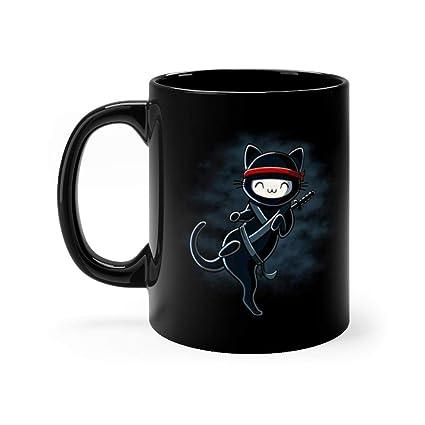 Amazon.com: Ninja Cat Coffee Tea 11 Oz Black Ceramic Mug ...