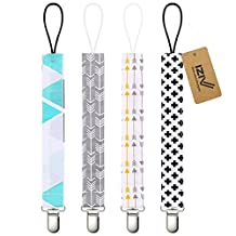 iZiv(TM) Baby Pacifier Clip Holder - 4 Pack - Unisex Pattern Design - Teething Ring Toys, Pacifier Leash, Stylish Shower Gift Set (Color-2)