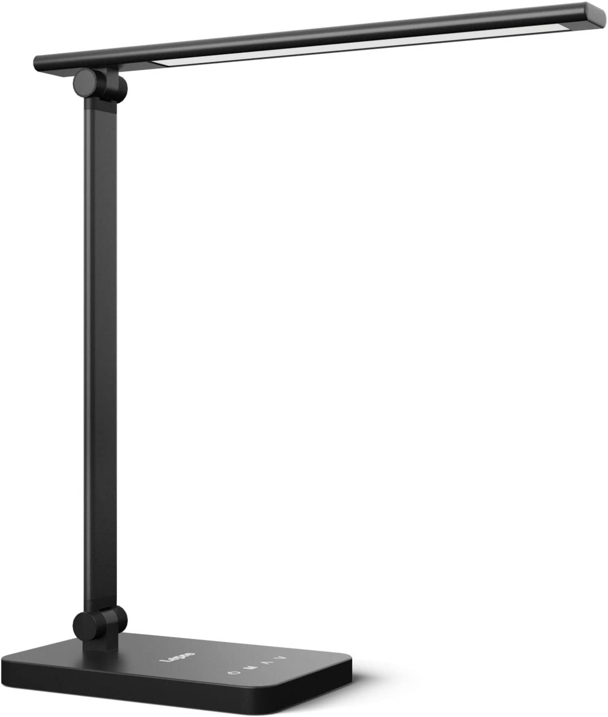 Lepro LED Desk Lamp Dimmable Home Office Lamp Touch Control 9W Bright Reading Table Lamp, 3 Color Modes with 5 Brightness Level, Eye Caring Diffused Natural Light, Sleek Modern Task Lamp (Black)