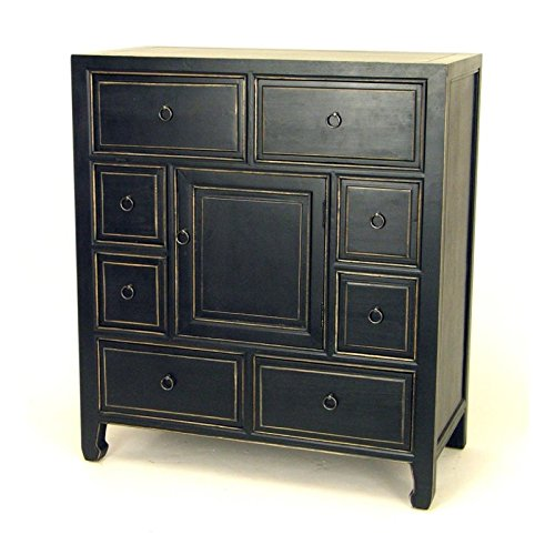 Wayborn Home Furnishing Suchow Apothecary Chest with Drawers & Door, Black