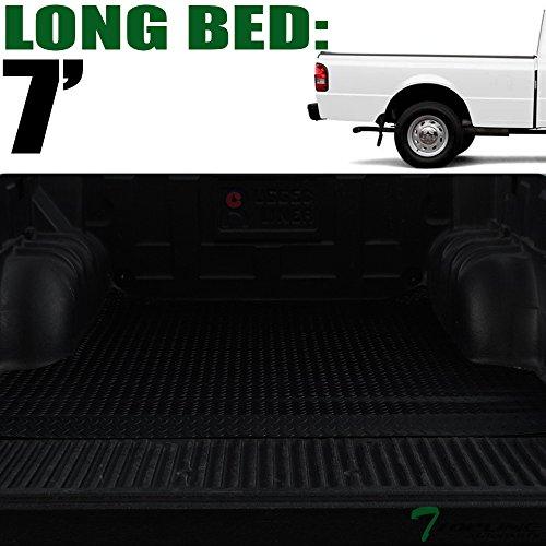 (Topline Autopart Black Rubber Diamond Plate Truck Bed Floor Mat Liner For 83-12 Ford Ranger 7 Feet (84