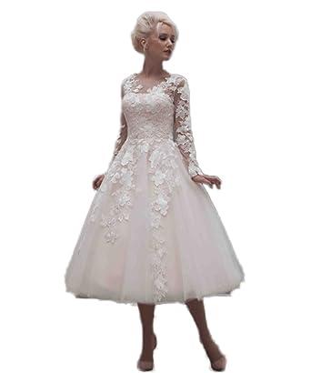 CoCoGirls Vintage Bridal Wedding Dresses Tea Length Applique Long ...