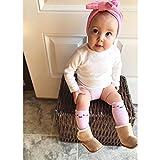 Baby Girl Knee High Long Socks Non Slip Toddler Socks 6-24 Months Anti Slip Non Skid Leg Warmer Walker Baby Socks Gift Set, Best Gifts for 1 Year Old Girl from Tiny Captain (Small, Pink White Grey)