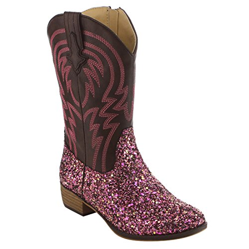 Pink Cowgirl Boots Kids - BETANI FE24 Girl's Kids Western Embroidered Mid Calf Cowgirl Block Heel Boots, Color:FUCHSIA, Size:3 M US Little Kid