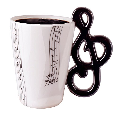 Novelty Mugs | Lovely Fashion Unique Cool Coffee Milk Ceramic Tea Mug Cup With Guitar Musical Note Best Gift?Black&White)