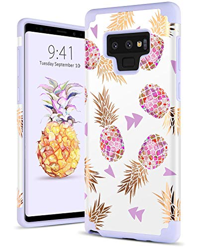 BENTOBEN Case for Pineapple Samsung Note 9, Case for Samsung Galaxy Note 9, Heavy Duty Slim Pineapple Hybrid Soft TPU Hard PC Bumper Cover Shockproof Full Body Protective Phone Case for Note 9, Purple