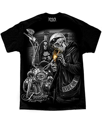 Motorcycle Ride T-shirt (Men's David Gonzales Art DGA Freedom Prison Tower Ride Or Die Motorcycle T Shirt X-Large Black)