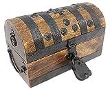 Well Pack Box Pirate Treasure Chest 11 x 7 x 7 Decorative Storage Iron Lock and 2 Skeleton Keys (Medium)