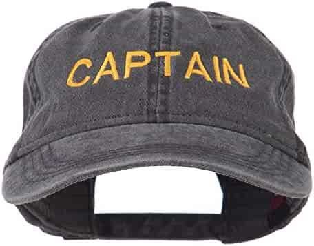 e4Hats.com Captain Embroidered Low Profile Washed Cap - Black