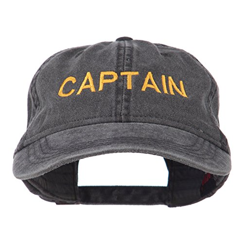 Captain+Embroidered+Low+Profile+Washed+Cap+-+Black+OSFM