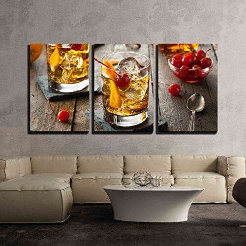 - wall26 - 3 Piece Canvas Wall Art - Homemade Old Fashioned Cocktail with Cherries and Orange Peel - Modern Home Decor Stretched and Framed Ready to Hang - 16