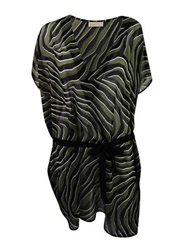 Michael Michael Kors Women's Quincy Zebra Tunic Swim Cover Up Black L - Michael Kors Zebra