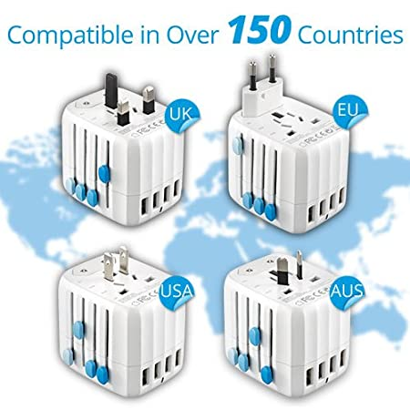 Black 2.1 A Output 4-Port Charger with 12W, EU, UK, US, AU Universal All-In-One-Plug, Compatible in over 150 Countries, USB Zendure Passport World Travel Adapter
