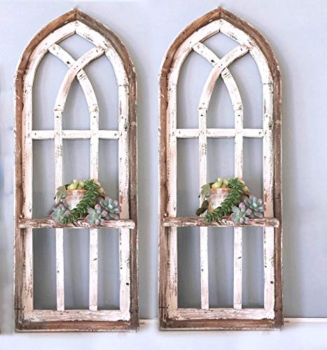 Cathedral Windows - 2 Cathedral Arch Window Frames, SHELF, 36