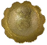 "Zap Impex Pure Golden Plated Brass Decorative Fruit Bowl carving Work - Size- 9"" Beautiful Peacock design Kitchenware Gift"