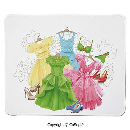 Quality Selection Comfortable Mouse Pad,Princess Outfits Bikini Shoes Wardrobe Party Costumes Girls Room Decor,for Laptop,Computer & PC (7.87
