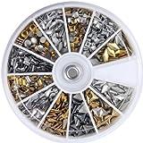 So Beauty 600 pcs 3D Design Nail Art Different Metallic Studs Gold & Silver Stud Wheel Manicure