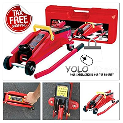Hydraulic Trolley Floor Jack 2 TON Capacity Car Supplies Garage Tool Metal Red - Plastic Case Included by YOLO Stores