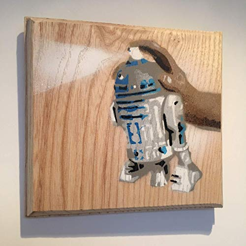 R2 D2 Star Wars Spray Can - Arte de la calle hecho a mano Graffiti Picture Painting on English Oak - Tamaño del átomo Obra de arte 10 x 13 cm (12 ...