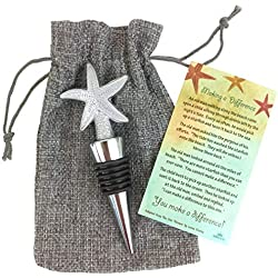 Meaningful Starfish Poem Story Wine Bottle Stopper Silver Tone with Taupe Burlap Gift and Storage Bag