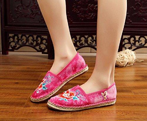 Uformell Dame Vintage Broderi Gang Sko Kinesisk Røde Loafer Stil Kvinner Lazutom YOxwdY