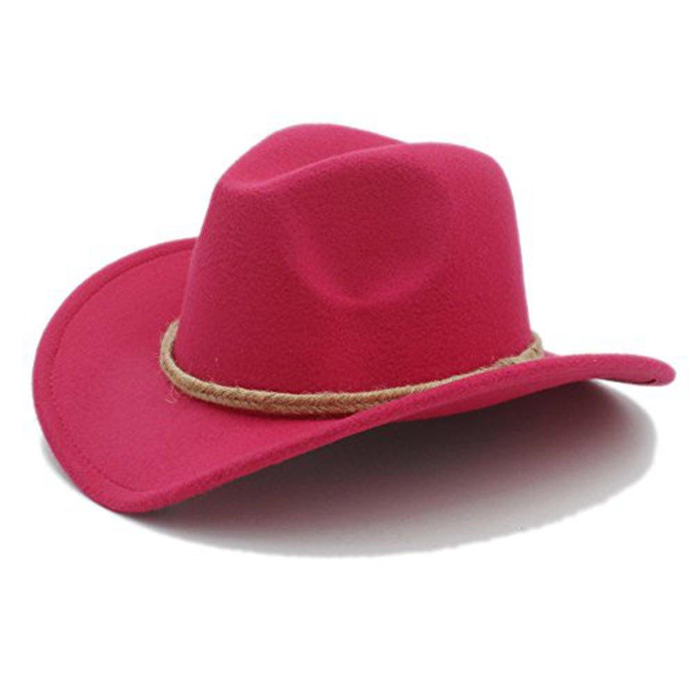 CNBEAU Retro Women Men's Chapeu Western Cowboy Hat For Gentleman Cowgirl Wide Brim Jazz Church Cap Cloche Sombrero Top Cap (Color : 5, Size : 57-58CM)