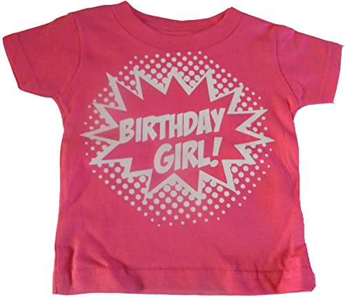 Custom Kingdom Girls' Birthday Girl Superhero T-Shirt (5T, Hot Pink) -