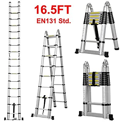 Adjustable 16.5ft Aluminum Telescopic Ladder Extendable European