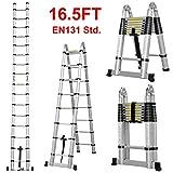 Adjustable 16.5ft Aluminum Telescopic Ladder Extendable European