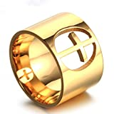 JAJAFOOK Jewelry Unisex's Wedding Hollow Cross Rings Gold Silver Plated