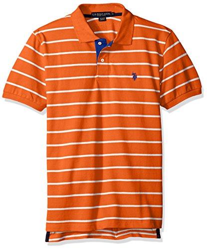 U.S. Polo Assn. Men's Striped Pique Classic Fit Shirt, Pattern 1/Summer Orange, Large (Mens Striped Pique Polo)