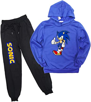 Amazon Com Boys Cartoon Sonic Hoodie The Hedgehog Costume Clothes Set 2pc Pullover Sweatshirt Sweatpans Tracksuit Clothing