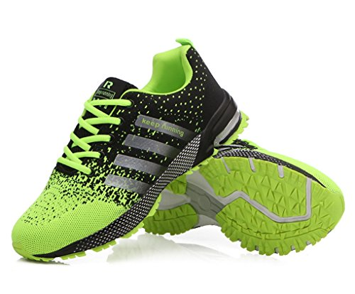 Evedaily Mens Sport Shoes Sneakers Jogging Marathon Lightweight Fitness Running Shoes Cushioning Flat Air Cushion Shoes Green gdpEg