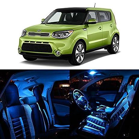 Partsam 10PCS 2014 2015 KIA Soul Ice Blue Interior LED Lights Package Kit +  Tag