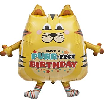 PurrFect Birthday Cat Helium Foil Balloon - 30 inch