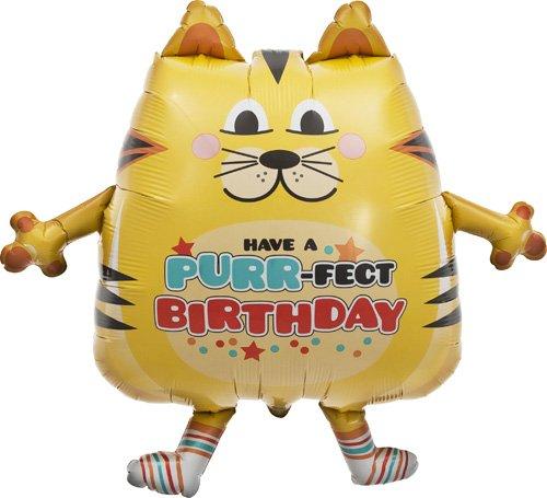 30 3375B Northstar Balloons Purrfect Birthday Cat Helium Foil Balloon