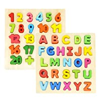 GEMEM Alphabet Puzzle Children Wooden Upper Case 26 Letters ABC and Number Learning Blocks Board Toys for Toddlers Preschools Age 4 Above 2 Year Old Pack of 2