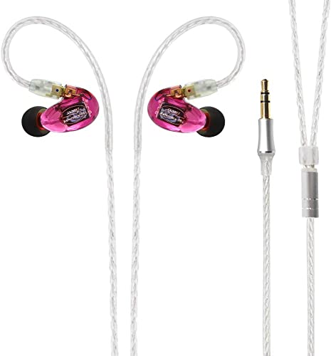 TENHZ DT3 in-Ear Monitors Earbuds,Three Balanced Armature Wired Earphones,High Fidelity Stereo,High Res Earbuds,Detachable Cable MMCX,Professional IEM Earphones,for iPhone Android Purple
