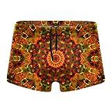 Orange Mandala Kaleidoscope Men Short Boxer Swimwear,Quick Dry Square Leg Sexy Swimsuit,Surf Athletic Trunks