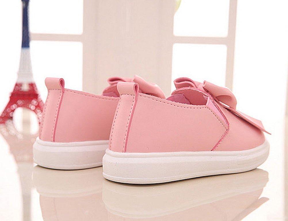 Vokamara Girls Casual Oxford Flat Bow Zipper PU Leather Walking Shoes