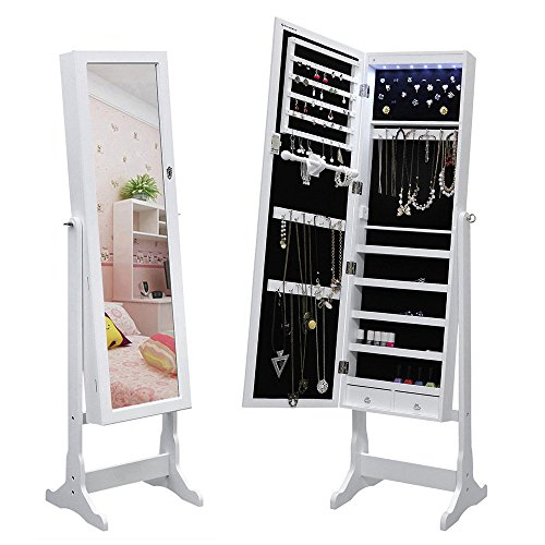 SONGMICS LED Jewelry Cabinet Lockable Standing Jewelry Armoire Organizer with Mirror 2 Drawers