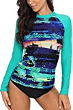 CharmLeaks Womens rashguard long sleeve rashguards rashguard swimsuit rashguard top Green Medium